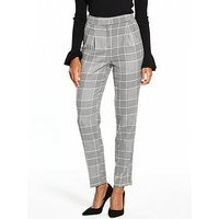 V by Very Check Fashion Trouser, Grey Check, Size 8, Women