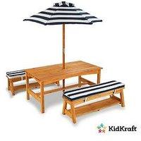 Kidkraft Outdoor Picnic Table &Amp; Bench Set With Cushions &Amp; Umbrella