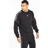 adidas Originals Nova Pipe Crew Neck Sweat, Black, Size S, Men