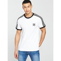 adidas Originals adicolor 3 Stripe California T-shirt, White, Size M, Men