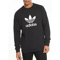 adidas Originals Trefoil Crew Neck Sweat, Black, Size Xs, Men