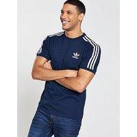 adidas Originals adicolor 3 Stripe California T-Shirt, Navy, Size S, Men
