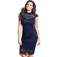Jessica Wright Collette High Neck Lace Midi Dress - Navy, Navy, Size 18, Women