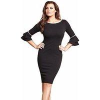 Jessica Wright Jessica Wright Adriana Pearl Flute Sleeve Bodycon Dress, Black, Size 10, Women