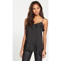 V by Very Asymmetric Frill Cami - Black, Black, Size 20, Women