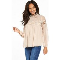 V by Very Crochet Insert Blouse - Blush , Blush, Size 8, Women