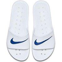 Nike Kawa Shower Slider, White/Blue, Size 8, Men