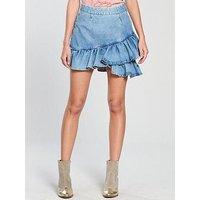 V by Very Ruffle Denim Skirt - Mid Wash, Mid Wash, Size 18, Women