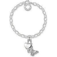 Thomas Sabo Sterling Silver Charm Club Bracelet With Butterfly and Heart Charms, One Colour, Women
