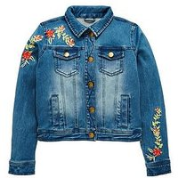 V by Very Girls Floral Embroidered Denim Jacket, Mid Wash, Size Age: 8 Years, Women