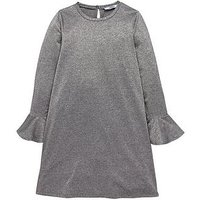 V by Very Girls Silver Glitter Bell Sleeve Party Dress, Grey, Size 13 Years, Women