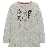 V by Very Peplum Stripe Girl Tee, Black/White, Size Age: 12 Years, Women