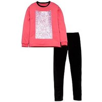 V by Very Sequin Slogan Sweat & Legging Set, Multi, Size Age: 10 Years, Women