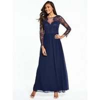 Little Mistress Long Sleeve Lace Maxi Dress - Navy