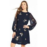 V by Very Embroidered Skater Dress - Navy, Navy, Size 12, Women