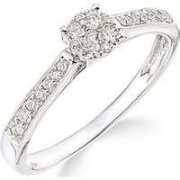 Love GOLD 9ct white gold 50 points of diamonds ring with stone set shoulders, One Colour, Size N, Women