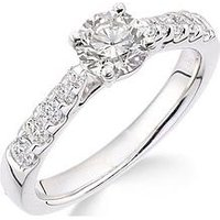Love GOLD 18ct white gold channel set 70 point diamond ring with diamond set shoulders, One Colour, Size P, Women