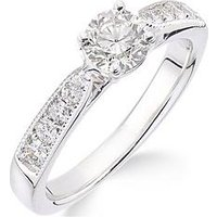 Love GOLD 18ct white gold millgrain edge 70 point diamond ring with diamond set shoulders, One Colour, Size P, Women