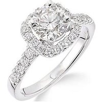 Love GOLD 18ct White Gold Claw Set 70 point Diamond Square Set Halo Ring, One Colour, Size O, Women