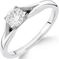 Love GOLD 9ct white gold 1/2 carat diamond solitaire with tapered shoulders ring, One Colour, Size K, Women