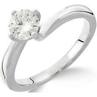 Love GOLD 9ct White Gold 1ct Diamond Solitaire Twisted Ring, One Colour, Size Q, Women