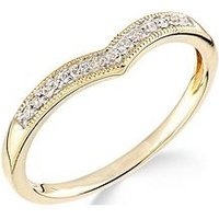 Love GOLD 9ct Yellow Gold Diamond Set Wish Bone Ring, One Colour, Size P, Women