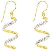 Love GOLD 9ct yellow gold crystal twist drop earring., One Colour, Women