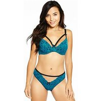 Pour Moi Instinct Underwired Bra, Black/Jade, Size 34G, Women