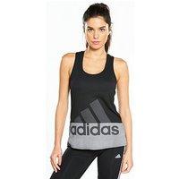 adidas Logo Tank - Black/Grey , Black, Size S, Women