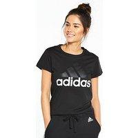 adidas Essentials Linear Tee - Black , Black, Size Xl, Women