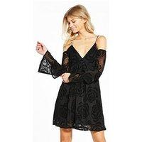 RI Petite Devore Burnout Dress, Black, Size 12, Women