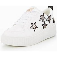 Juicy Couture Daisy Star Trainer, White, Size 8, Women
