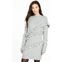 V by Very Tiered Tipped Frill Turtleneck Knitted Dress, Grey Marl, Size 8, Women