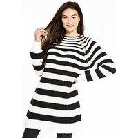 V by Very Variegated Stripe Rib Button Detail Tunic, Stripe, Size 12, Women