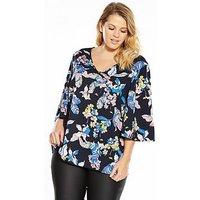 JUNAROSE Perline Three-quarter Sleeve V-neck Blouse, Print, Size 16, Women