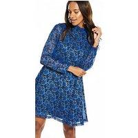 Y.A.S Feather Long Sleeve Dress - Blue, Print, Size 12=L, Women