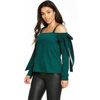 V by Very Jersey Bow Cold Shoulder Top, Emerald Green, Size 16, Women