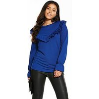 V by Very Jersey V Frill Front Top, Cobalt Blue, Size 10, Women