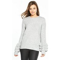 V by Very Tiered Frill Cuff Jumper, Grey Marl, Size 14, Women