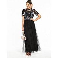 V by Very Embellished Maxi Dress, Black, Size 8, Women