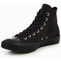 Converse Chuck Taylor All Star Fashion Leather Hi, Black/Black, Size 7, Men