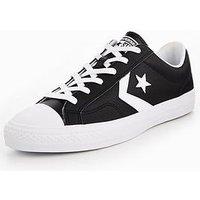 Converse Star Player Leather Essentials Ox, Black/White, Size 10, Men