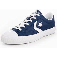 Converse Star Player Leather Essentials Ox, Navy/White, Size 7, Men