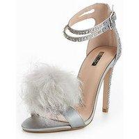 Carvela Glenn Pom Pom Heeled Sandal, Grey, Size 5, Women