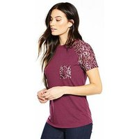 V by Very Lace Pocket Sleeve T-Shirt, Berry, Size 16, Women