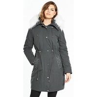 V by Very Pearl Detail Lux Parka - Grey, Grey, Size 24, Women