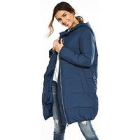 V by Very Long Oversized Padded Coat, Pale Grey, Size 8, Women