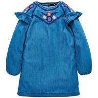 V by Very Girls Denim Embroidered Smock Dress, Denim, Size 14 Years, Women