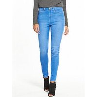 V by Very Tall Florence High Rise Skinny Jean - Bright Blue, Bright Blue, Size 16, Inside Leg Xlong, Women