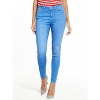 V by Very Denni Mid Rise Skinny Jean, Bright Blue, Size 12, Inside Leg Long, Women